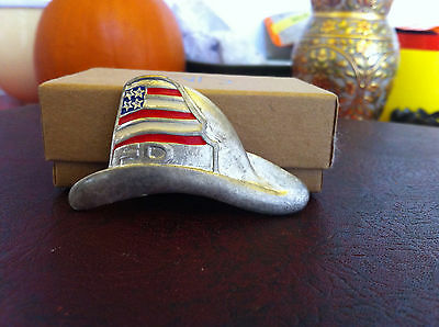 Silver-tone and Enamel Patriotic Fire Department Hat Pin
