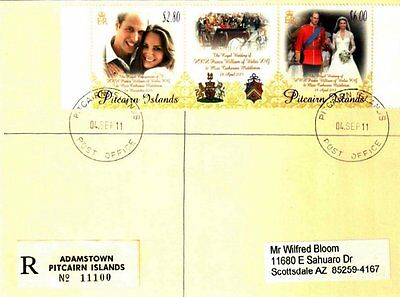 Pitcairn Islands 2011 William & Kate Registered Cover Not Fdc