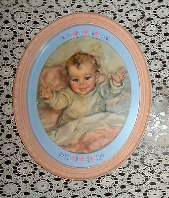 1930's Lovely Oval Framed Pastel Baby Print Artist Signed Maud Tausey Fangel