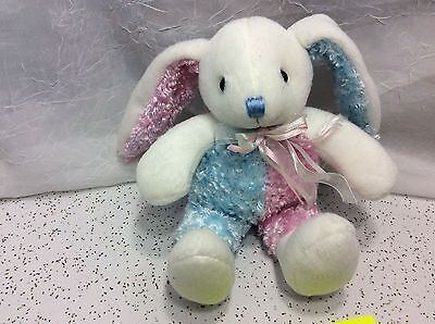 "Dan Dee Collectors Choice Bunny Rabbit Purple Tipped Plush 13"" Blue & Pink Fuzzy"