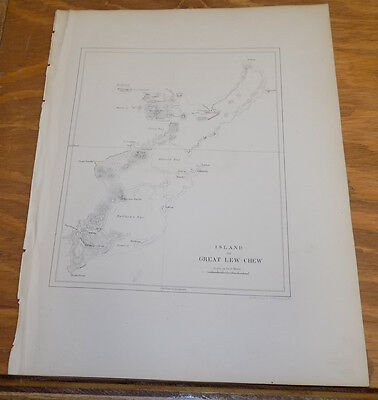1856 Map COMMODORE PERRY in Asia /// GREAT LEW CHEW (OKINAWA) ISLAND, JAPAN