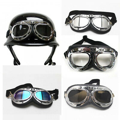 Retro Overland Motorcycle Vintage Retro Cafe Racer Riding Goggles Silver