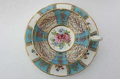 Vintage Paragon Blue Robin's Egg Gold Filigree Footed Tea Cup and Saucer England