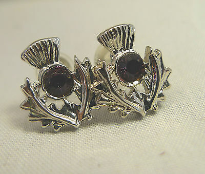 Authentic Art Pewter Traditional Scottich Thistle Earrings Crystal Post New/Box