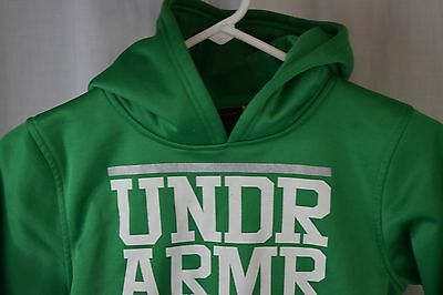 Under Armour Hoodie Youth Small Green Hooded Sweatshirt Logo Pouch