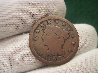 1847 Large Cent Braided Hair Cent  Type Coin