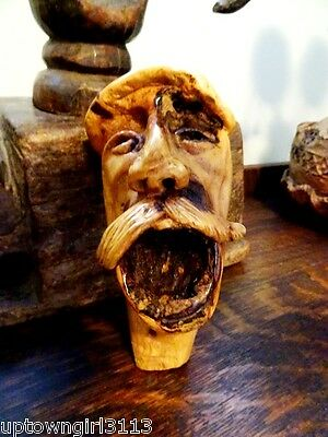 AFGHAN burl ROOT CARVING signed MOUSTACHED MAN HEAD folk art HAUNTING SCULPTURE