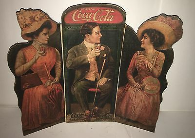 #250*** EXTREMELY RARE 1900's COCA COLA CARDBOARD TRI FOLD COUNTER DISPLAY