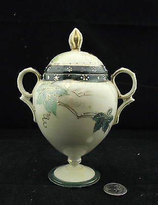 Hand Painted Nippon Footed Sugar Bowl  Gold And Greens