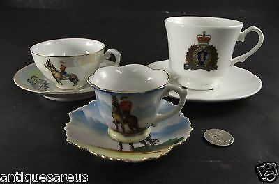3 Rcmp Royal Canadian  Mounted Police Tea Cup And Saucer Collection