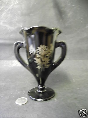 Antique 2 Handled  Black  Glass Vase Wth Silver Overlay Flowers