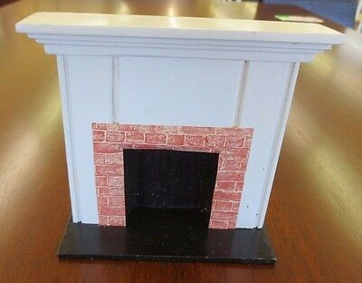 Vintage Handicraft White & Red Brick Dollhouse Miniature Fireplace Furniture