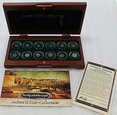 Holy Land of Judaea 12- Ancient Coin Collection w/ Beautiful Display Box & CoA