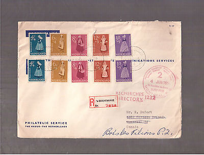 NETHERLANDS 1958 REGISTERED COVER TO CANADA # B326/330 in PAIRS !!