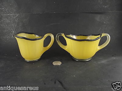 Vintage Yellow And Black Glass Gream And Sugar Great Deco Style