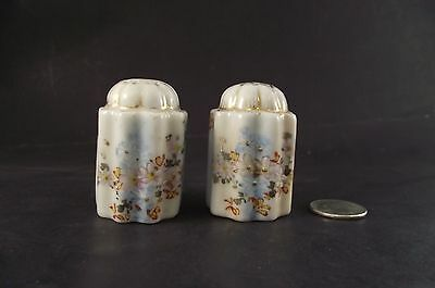 "Antique 2"" Hand Painted German ?  Ribbed Salt And Pepper Shakers"