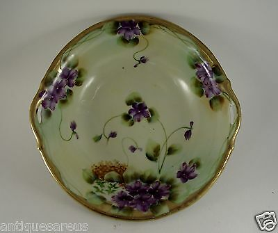 """10""""   Floral With Gold Hand Painted Nippon Berry Bowl"""