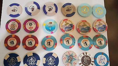 Lot of 129 casino chips.