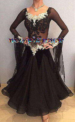 Women Ballroom Smooth Tango Waltz Dance Dress US 6 UK 8 Black White Lace