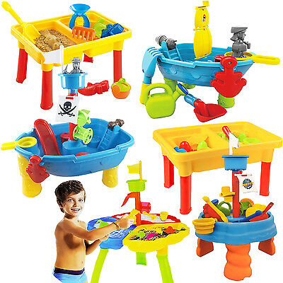 Kids Sand And Water Table Beach Sandpit Garden Play Set Spade Bucket Outdoor Toy