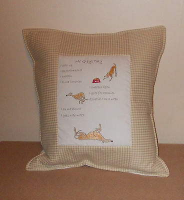 Me Greyt Day - greyhound themed cushion