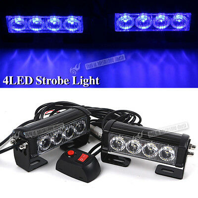 2x12V 4 LED Bar Car Truck Flashing Emergency Grille Light Recovery Strobe Blue