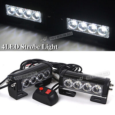 2x 12V 4 LED Strobe Flash Light Warning Hazard Emergency Beacon Car Truck White