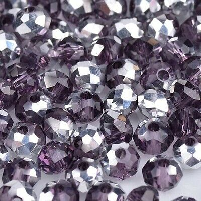 NEW Jewelry Faceted 100 pcs Silver Violet #5040 3x4mm Roundelle Crystal Beads L3