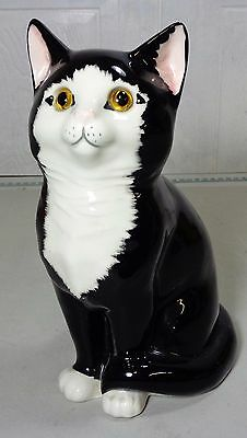 Just Cats & Co Large 20cm Porcelain Black & White Cat Figurine with Glass Eyes