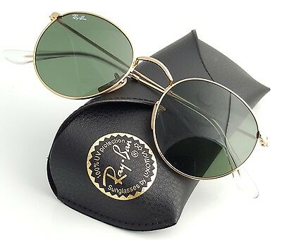 New Ray-Ban ® Round Metal  Gold RB 3447 001 50mm Sunglasses with Green Lens