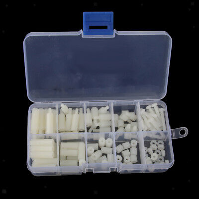 120Pcs M3 6-20mm Hex Spacers Screw Nut Washer Assortment Standoff Kit White