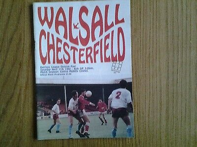 Walsall v Chesterfield  PROGRAMME 1992