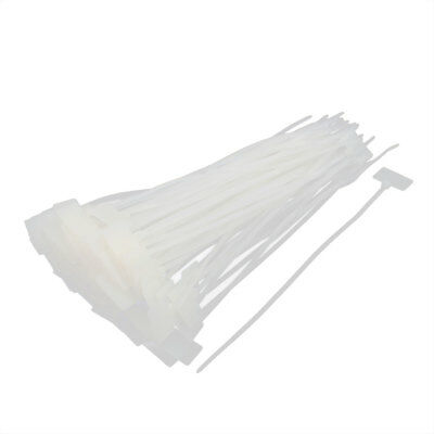 100 Pcs Nylon Network Cable Cord Wire Label ID Tags Zip Ties Strap 4 x 200mm