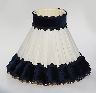 Vintage Ruffled Pleated Chiffon Lampshade for Table Lamp with Navy Blue trim