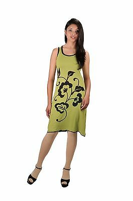 Women's Green Sleeveless Dress With Front Embroidery Work