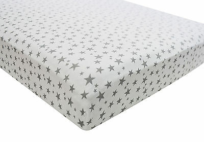 2x Fitted Sheets Compatible With Chicco Lullago 100% Cotton - Midnight Stars