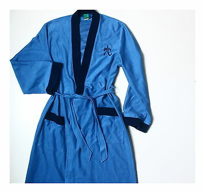 Men's Vintage 80s Canda Blue Oriental Dressing Gown Robe S M
