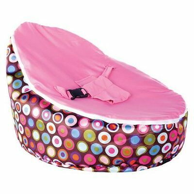 Baby Bean Bag - Unfilled With 2 Removable Covers & Harness - Pink Polka Dots