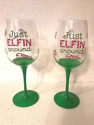 Xmas Elf Hand Painted Wine Glass Candy Cane Gift Decor