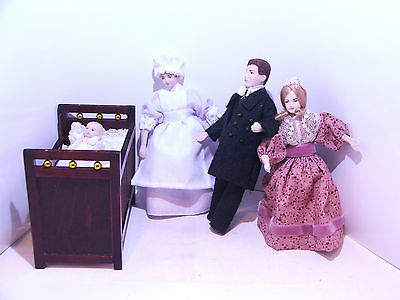Dolls House Porcelain figures, Gentleman & Wife, Maid, Baby and Cot 12th scale