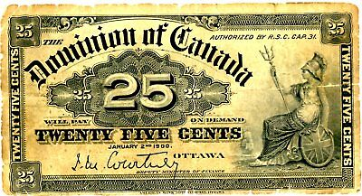 Canada … P-9a … 25 Cents … 1900 … *VG*.