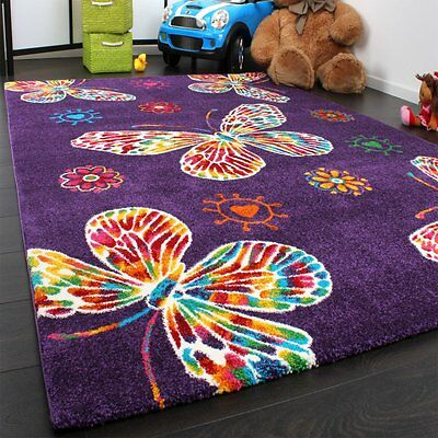 Childrens Bedroom Rug Carpet Kids Girls Playroom Mat Butterflies Small Large New