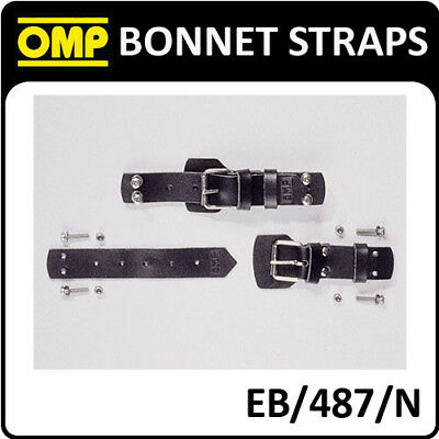EB/487/N OMP BONNET SECURING LEATHER VINTAGE STRAPS (2) for CLASSIC RACE CARS!