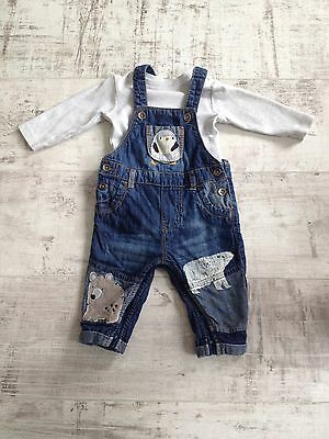 Next Boys Dungarees Outfit  3-6 Months
