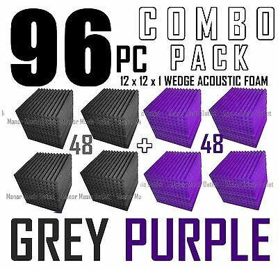 Acoustic Foam Combo 96 pack Purple/Gray Wedge Soundproof Studio tiles 12x12x1""