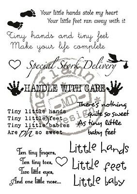 Marianne Design BABY TEXT Clear Stamp Set - Newborn phrases sentiments greetings