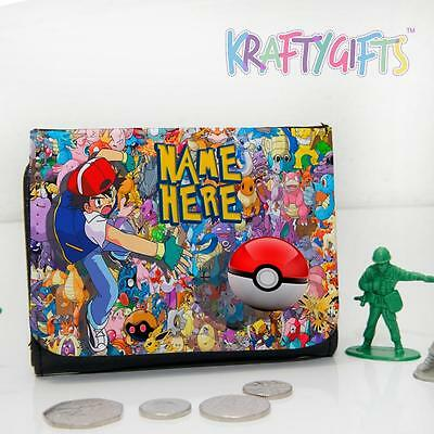 Personalised Pokemon Ash Ball Boys Childrens Lunch Wallet Money Gift PK02