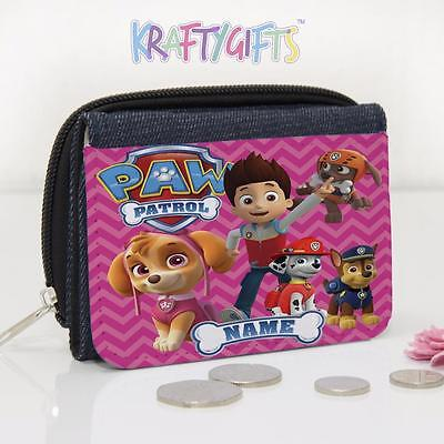 Personalised Paw Patrol Dogs Fun Girls Lunch Denim Coin Money Purse PW02