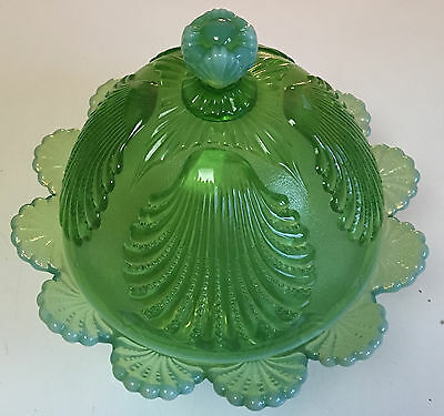 Mosser  Green Beaded Shell Covered Butter Dish