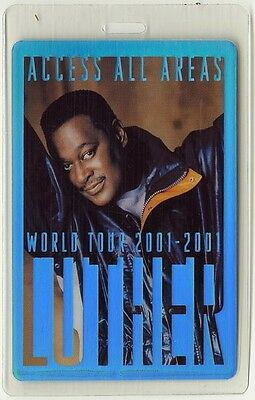 Luther Vandross authentic 2001 concert tour Laminated Backstage Pass
